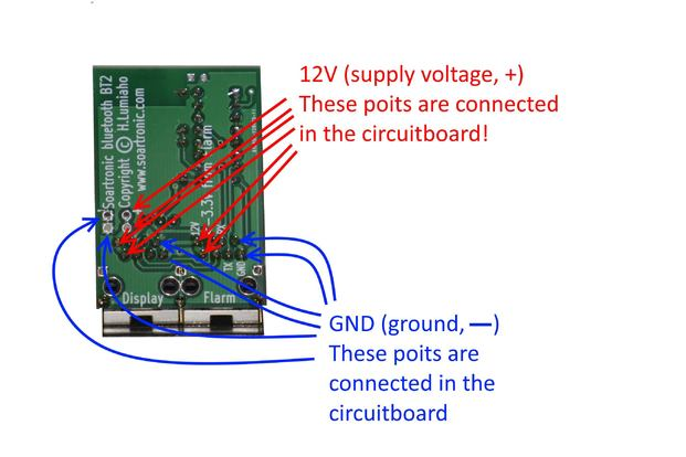 Soartronic BT2, 12V (5-15V) supply voltage and ground points